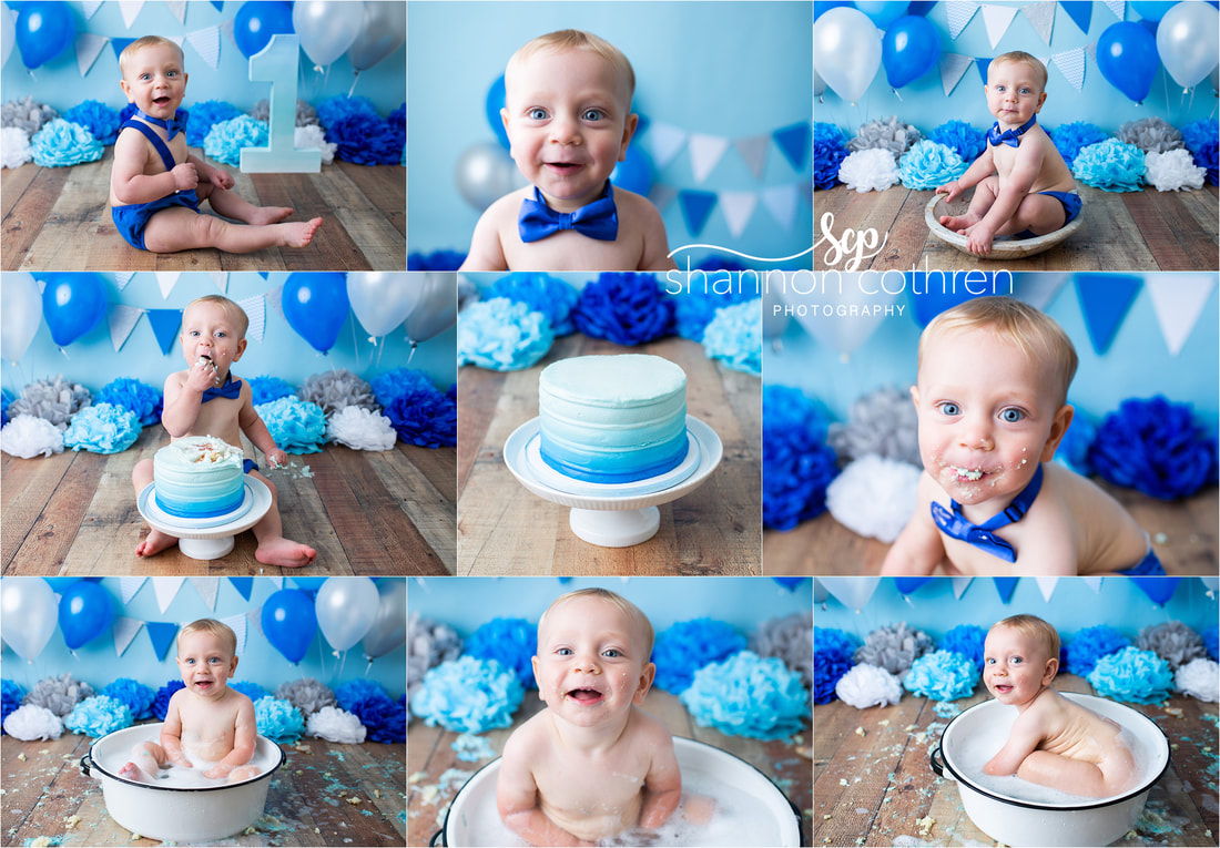 Blue boy cake smash