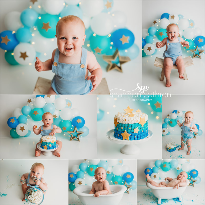 Blue balloon garland Cake Smash